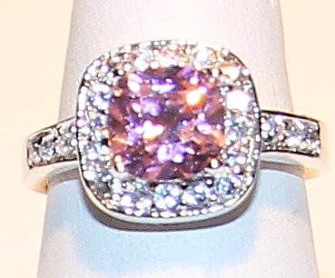 WR125 Sterling Silver Pink CZ Rhodium Ring