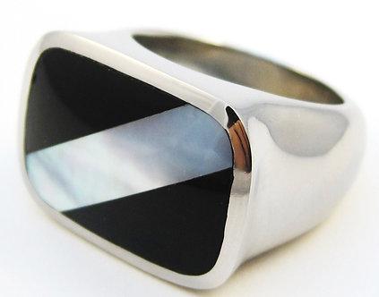 SSR2799 Stunning High Polish Black Onyx MOP Stainless Steel Ring