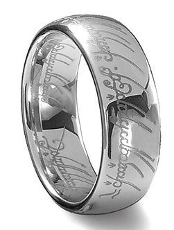 Tungsten Carbide Silver Lord of the Rings - Size 14