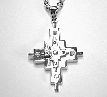 NP49 CZ Double Layer Stainless Steel Cross Pendant