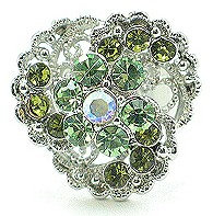 OS04 Green Crystal Anti Tarnish Cocktail Ring