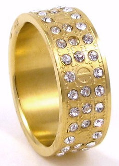 SSR4873 CZ Gold Stainless Steel Ring