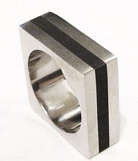SSR1865 High Polish Square Stainless Steel Ring Black Stripe