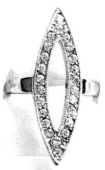RR02 Sparkling Clear CZ Rhodium Finish Abstract Fashion Ring