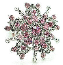 OS37 Pink Crystal Anti Tarnish Statement Cocktail Ring