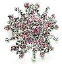OS37 Large Pink Crystal Adjustable Cocktail Ring  Anti Tarnish