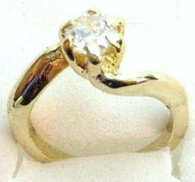 GSR02 Sparkling Clear CZ 18K Gold Solitaire Ring