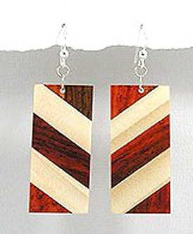 EA79 Unique Exotic Wood Dangle Earrings