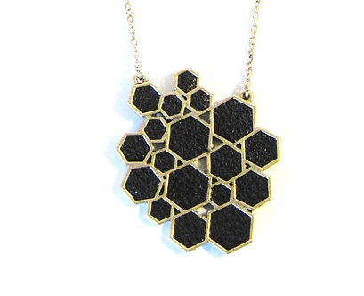 NP2007 Trendy Black Leather Geometric Cluster Statement Pendant