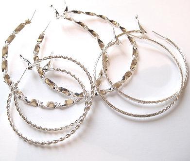 EA85 Three Pairs Assorted Twisted Rope Silver Hoop Earrings Set