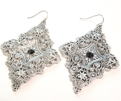 EA53 Antique Silver Victorian Style Filigree Dangle Earrings