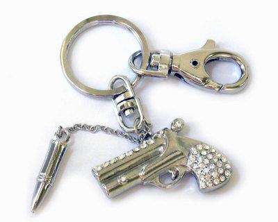 MSC02 Crystal Paved Gun and Bullet Keyring Keychain