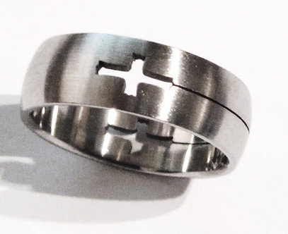 SSR41 Laser Cut Cross Stainless Steel Ring