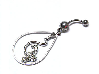 BJ37 Babyphat Crystal Dangle Belly Ring