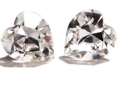EA313 Sparkling Clear Swarovski Crystal HEART Post Earrings