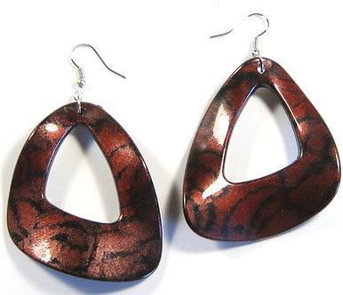 EA115 Burgundy Glossy Acrylic 2.25 inch Wavy Shape Dangle Earrings