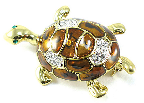 BP22 Adorable Enamel Crystal Gold Turtle Brooch