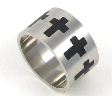 SSR2255 - 15mm men Black Cross Stainless Steel Ring