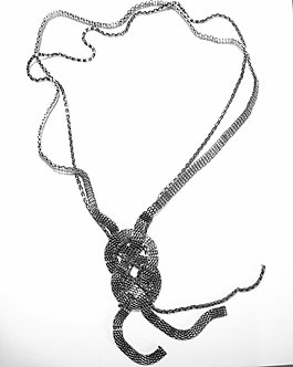 NP941 Gunmetal Multi Chain Twisted Hoop Sweater Necklace