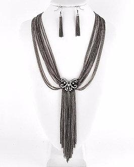 NP1104S Antique Silver Multistrand Chains Drop CZ Necklace Set