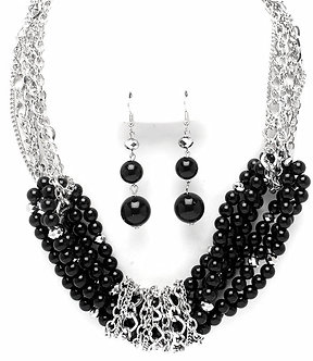 NP1028 Multi Strands Black Pearls Chains Necklace Set