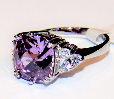 WR130 Exquisite Sterling Silver Rhodium Finish Purple CZ Ring