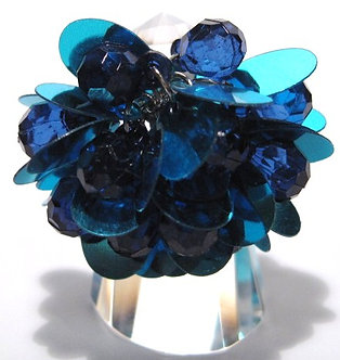 OS43 Dazzling DARK BLUE Sequins Beads Cluster Cha Cha Ring