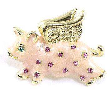BP47 Adorable Pink Crystal Enamel Flying Pig Brooch