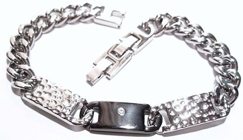SSB5942 CZ Accent Two Tone Hammered Stainless Steel Bracelet