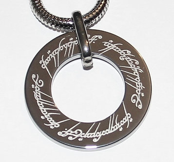 NP3000 Double-sided Lord of the Rings Tungsten Pendant with Chain