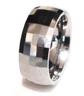 TU3095 - 8mm High Polish Multi Faceted Tungsten Carbide Ring