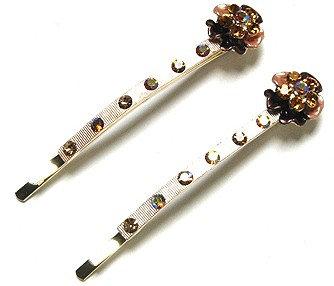 MSC11 - Pair of Crystal Flower Bronze Hair Pins