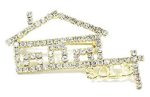 BP44 CZ Realtor Sold House Real Estate Brooch