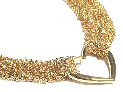 NP78 Gold Multichain Heart Toggle Clasp Choker Necklace