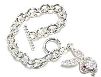 BR07 Crystal Pave Playboy Bunny  Rhodium Charm Bracelet