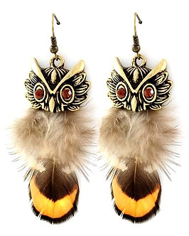 EA26 Antique Gold Feather Topaz CZ Dangle Owl Earrings