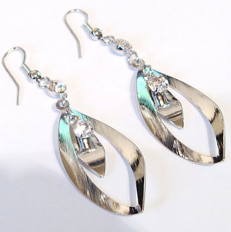EA04 CZ Oval Shape Rhodium Finish Dangle Earrings