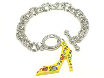 BR10 Yellow Crystal Pave Stiletto Shoe Rhodium Charm Bracelet