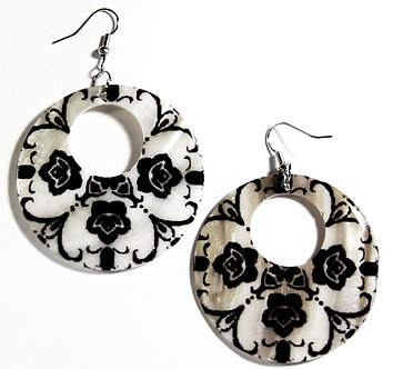 EA132 Unique Art Deco Pattern Shell Dangle Earrings