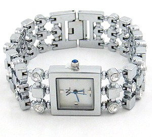 WW105 Square Face CZ Stainless Steel Fashion Watch