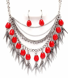 NP1016 Multistrand Red Stones Chains Spike Chunky Necklace Sl Bands Necklace Set