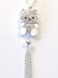 NP61 CZ Paved White Enamel Chain Tassel Hello Kitty Pendant