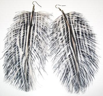 EA400 Oversized Zebra Pattern Feather Dangle Earrings