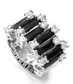 WR121 Sterling Silver Black CZ Baguette Rhodium Chunky Ring
