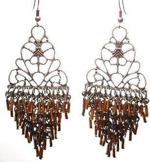 EA46 Intricate Copper Tubes Cascade Drop Chandelier Earrings EA46
