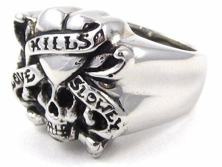 SSR2438 Love Kills Slowly Skull Biker Stainless Steel Ring
