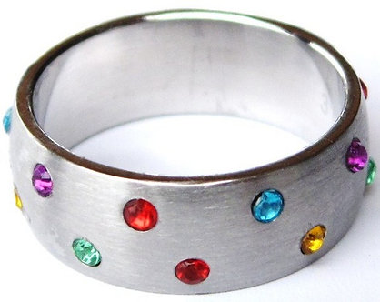 SSR13 - 8mm CZ Rainbow Gay Pride Stainless Steel Ring