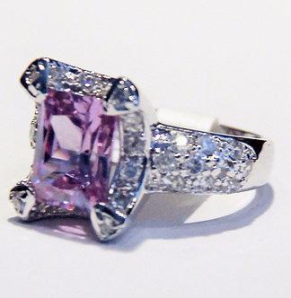 WR127 Sterling Silver Light Purple CZ Rhodium Ring