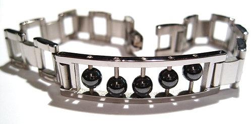 SSB5732 Hematite Balls Stainless Steel Square Links Bracelet