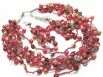 NP131 Multistrand Glass Pearl Beads Sequins Necklace Set